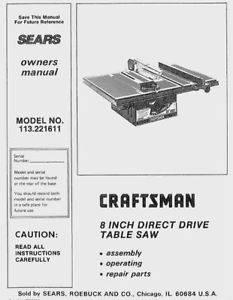 craftsman 10 table saw owners manual